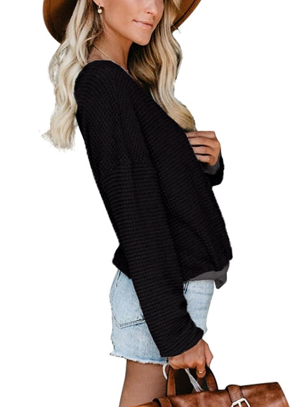 Free Shipping -- Black Cross Wrap Front V-Neck Long Sleeve Loose Cardigan