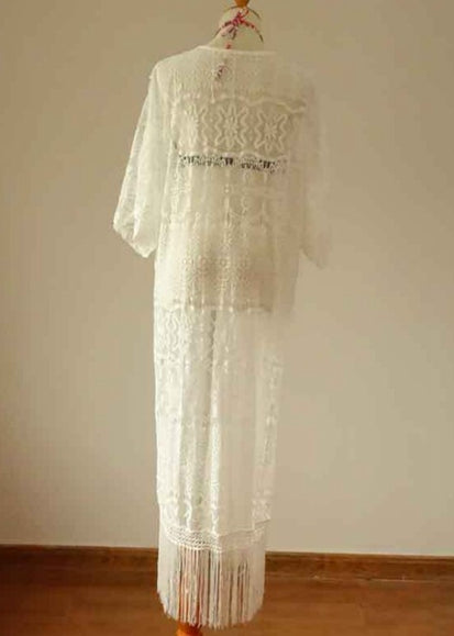 Free Shipping -- White Lace Long Sleeve Tassel Maxi Cardigan Cover Ups