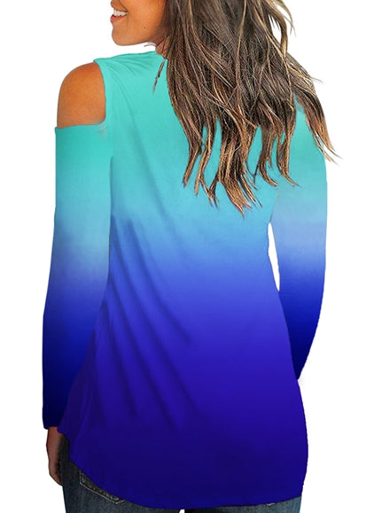Free Shipping -- Gradient Color V Neck Off Shoulder Tops Long Sleeve T shirt