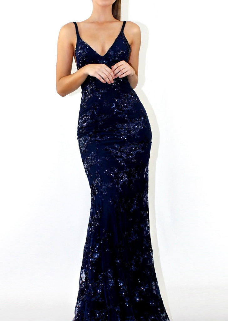 Free Shipping -- Navy Blue V-Neck Backless Sequin Dress Maxi Slim Evening Dress