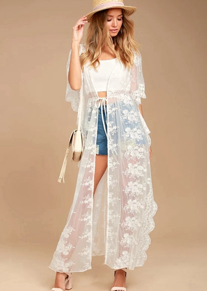 Free Shipping -- White Lace Floral Embroidered Short Sleeve Cardigan Holiday Cover Ups