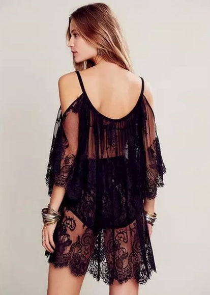 Free Shipping -- Spaghetti Lace Embroidered With Tassel Sexy Short Cover Ups