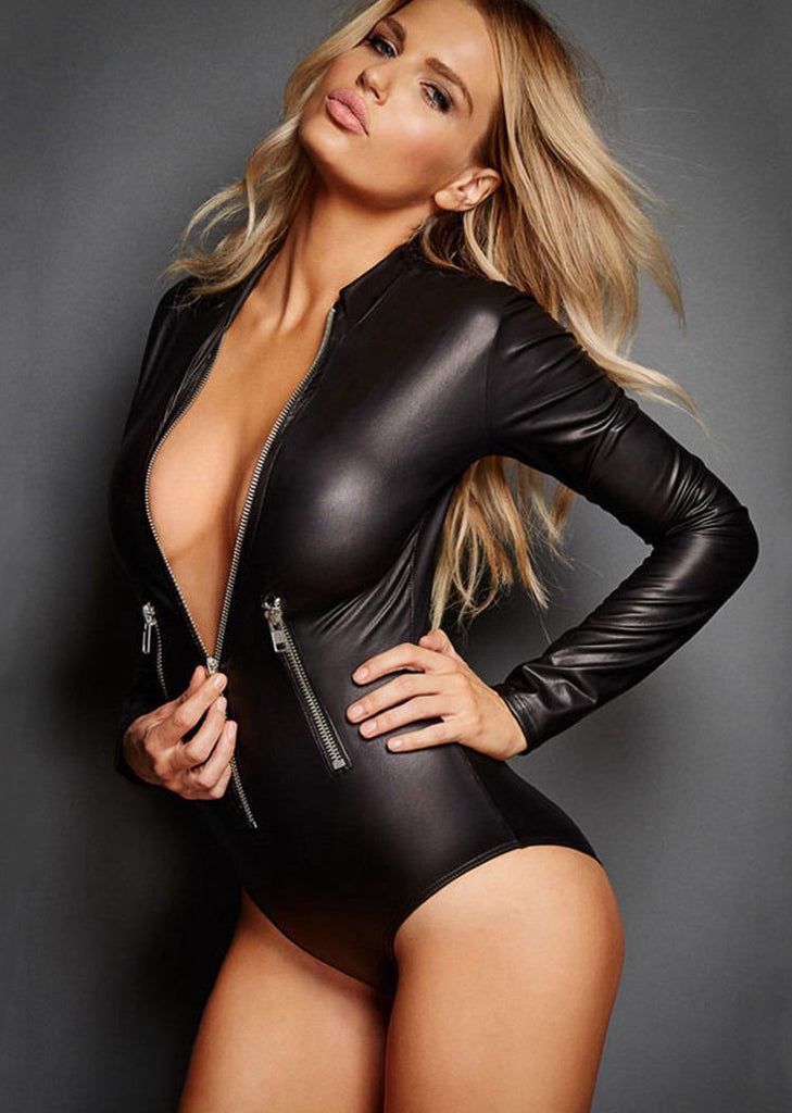 Free Shipping -- Black Zipper Long Sleeve PU Leather Teddy Bodysuit