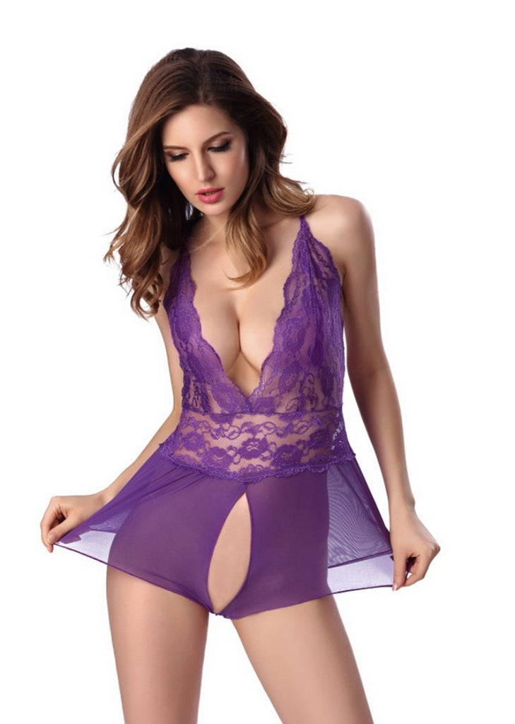 Free Shipping -- Lace Lingerie Criss Cross Back Crotchless Teddy