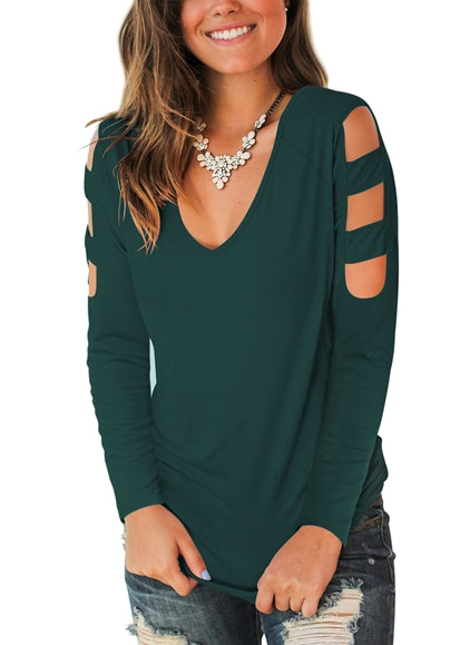 Free Shipping -- Green Casual Long Sleeve Cut Out Cold Shoulder Tops Deep V Neck T Shirts