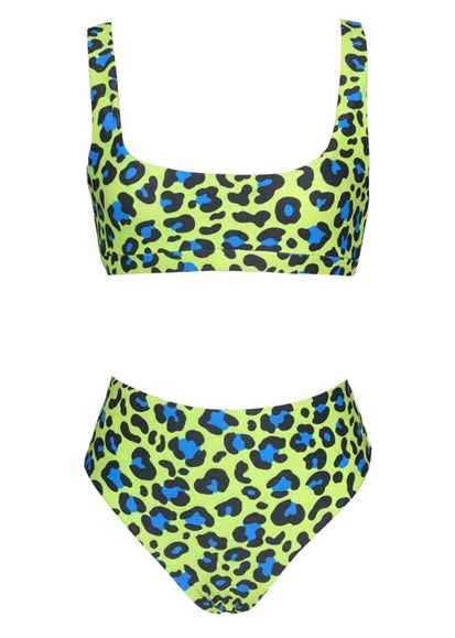 Free Shipping -- Green/Blue Dot Print High Waisted Tankini