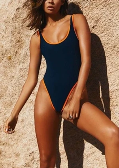 Free Shipping -- Black Solid Color Scoop Neck Motokini