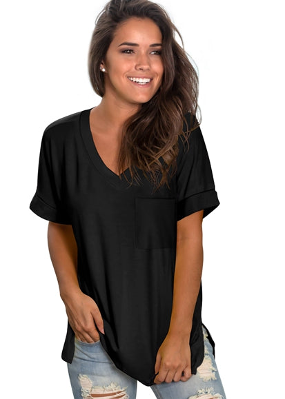 Free Shipping -- Black Fashion Women Basic V Neck with Pocket Tank Tops Side Split T Shirts