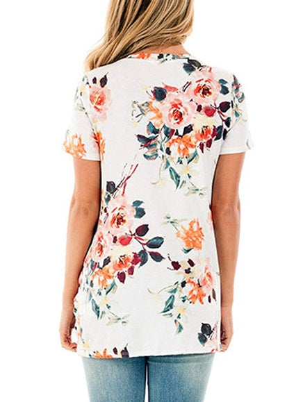 Free Shipping -- White Floral Print Twist Knot Front Short Sleeve Tunics