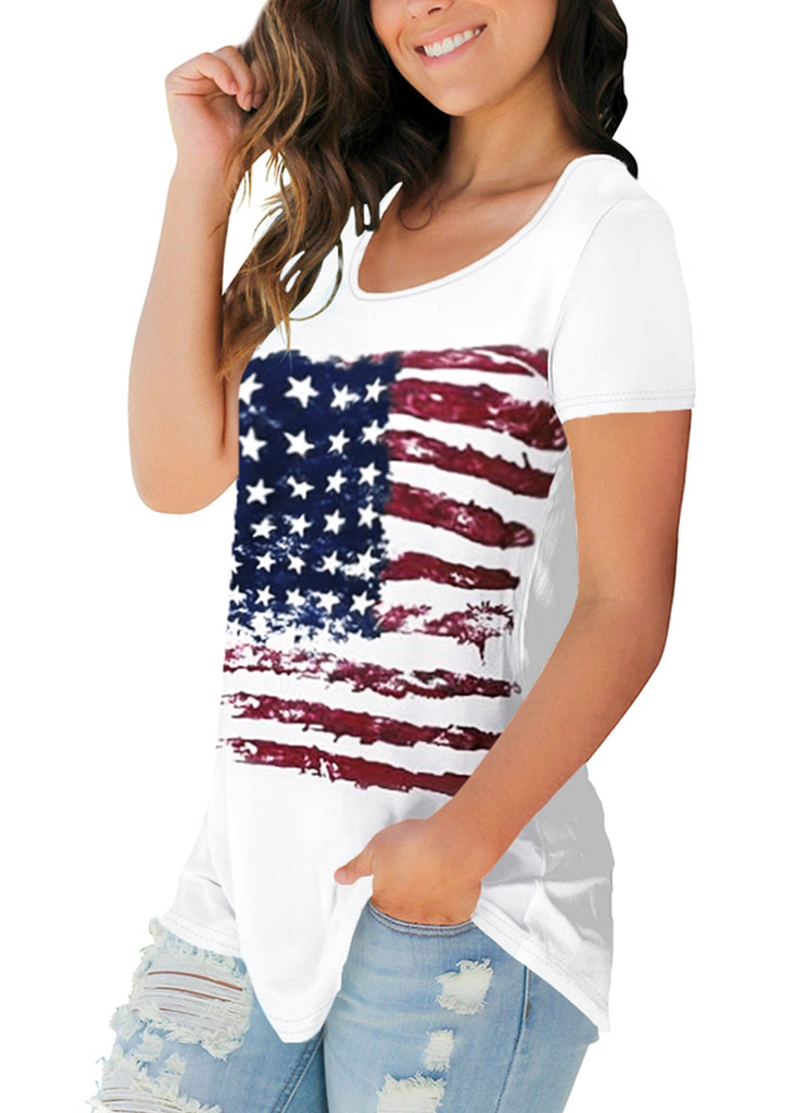 Free Shipping -- American Flag Print Round Neck Short Sleeve Casual Tops