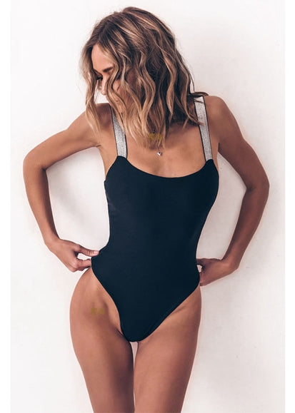Free Shipping -- Shiny Shoulder Strap Hollow out in Back Black Monokini