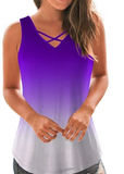 Free Shipping -- Women's Sleeveless V-Neck Criss Cross Soft Casual Summer Tank Tops