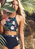 Free Shipping -- Navy Blue Floral Print High Waisted Tankini