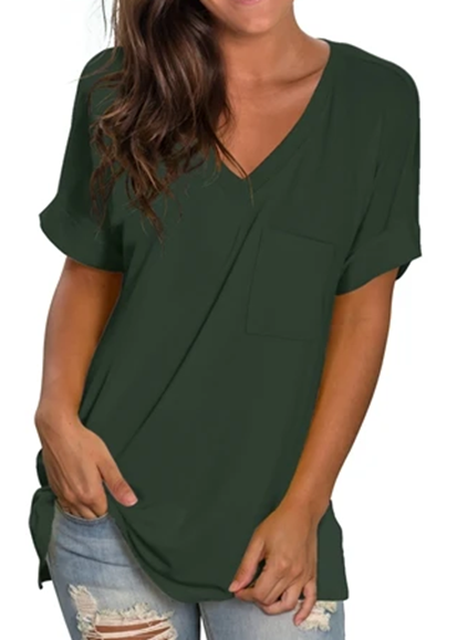 Free Shipping -- Green Fashion Women Basic V Neck with Pocket Tank Tops Side Split T Shirts