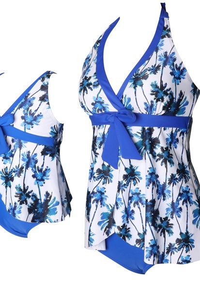 Free Shipping -- Blue Floral Print Knot Front Swimwear Mommy & Me