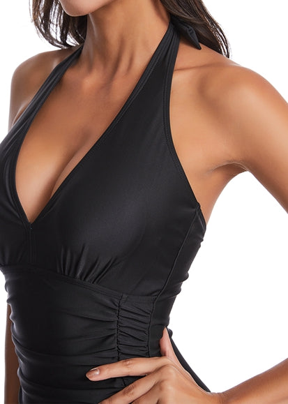 Free Shipping -- Solid Color Skin-tight Halter Monokini