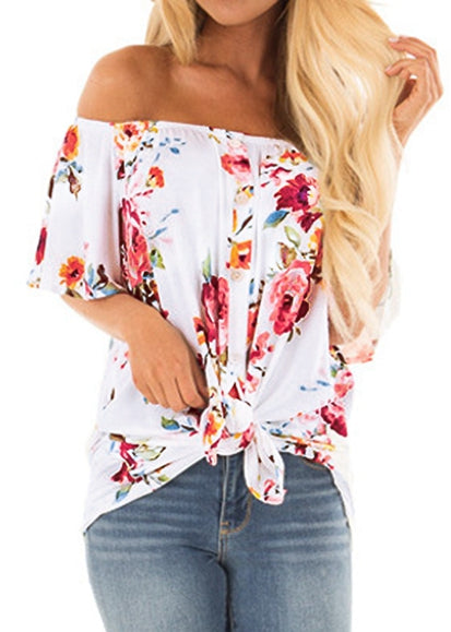 Free Shipping -- Floral Print Off The Shoulder Tops Button Down Tie Knot Shirt