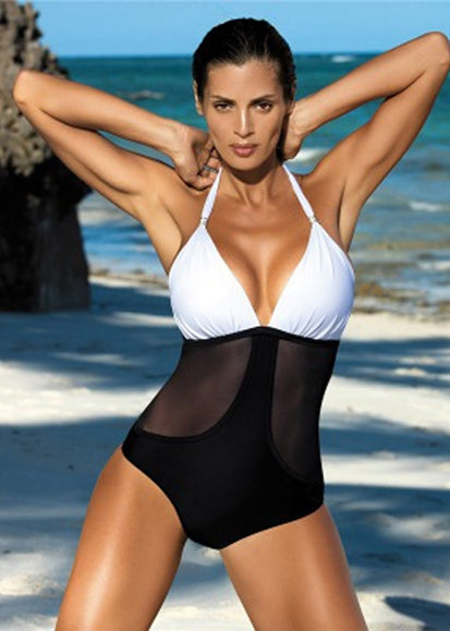 Free Shipping -- Sexy  Color Block Halter Monokini
