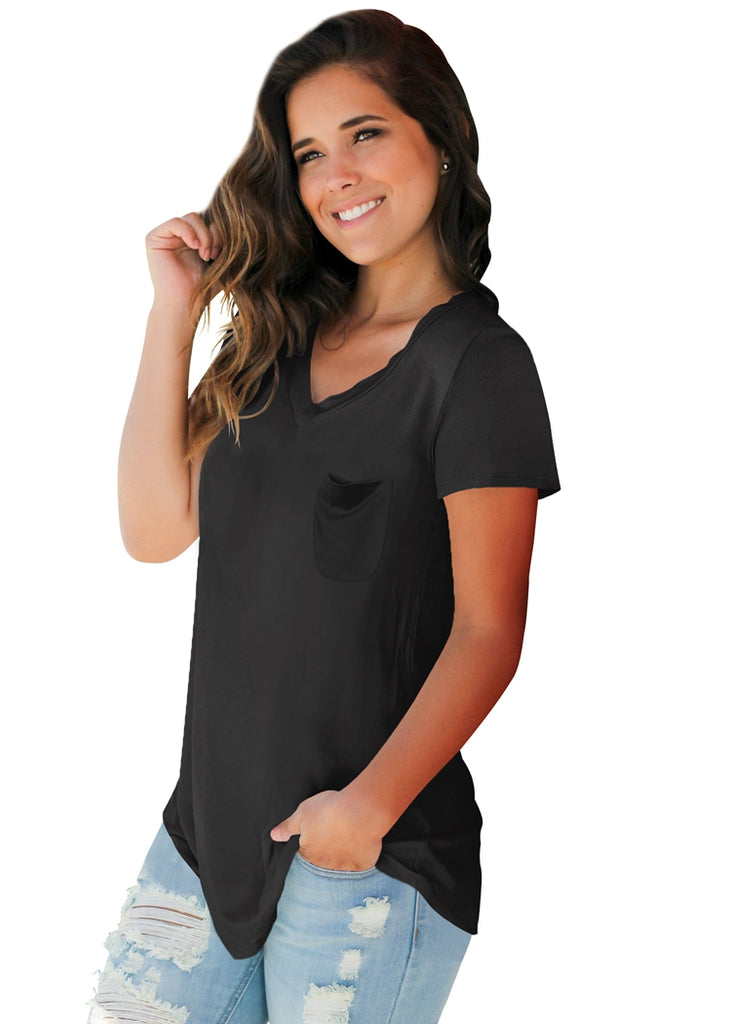 Free Shipping -- Short Sleeve Loose T-Shirt V-Neck Casual Tops with Front Pocket
