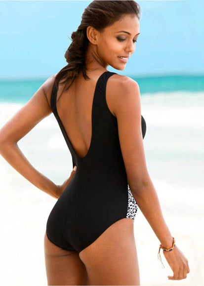 Free Shipping -- Black Hollow Out in Back Monokini