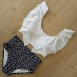 Free Shipping -- Women White/Black Cute Ruffle Round Neck Floral Print High Waisted Tankinis