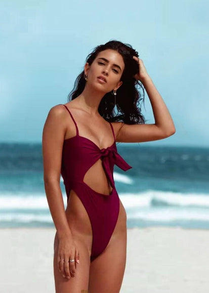 Free Shipping -- Burgundy Cut Out Twist Knot Front Monokini