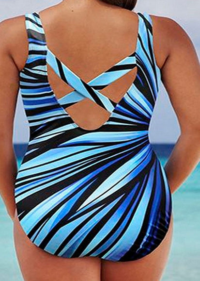 Free Shipping -- Plus Size Cool Girl Blue Radial Line Print Monokini