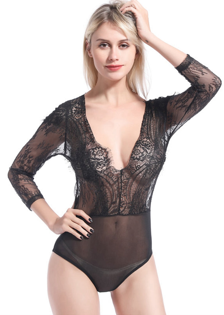 Free Shipping -- Lace Mesh 3/4 Sleeve V-Neck Teddy Bodysuits Lingerie Set