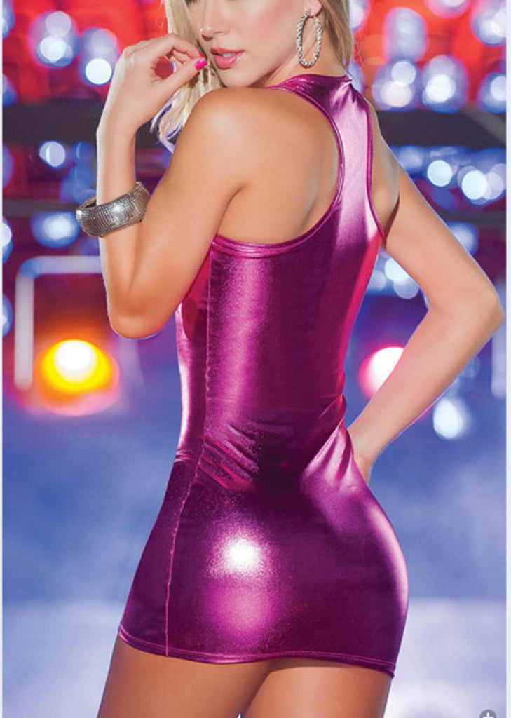 Free Shipping -- Solid PU Leather Zipper Sheath Mini Dress For Nightclub