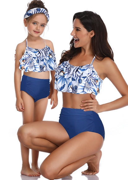 Free Shipping -- Blue Leaf Print Ruffle High Waisted Swimwear Mommy & Me