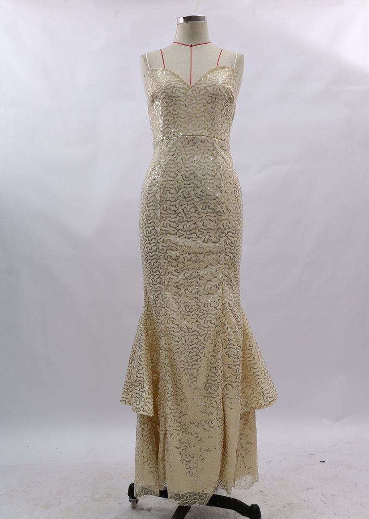 Free Shipping -- Gold Camisole Slim Prom Dress Mermaid Sequin Evening Dress