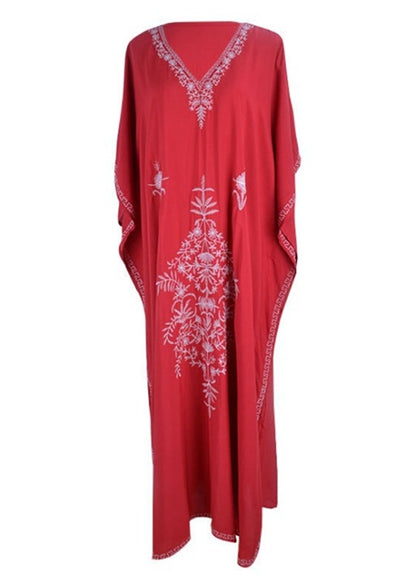 Free Shipping -- Red Vintage Print Long Sleeve Embroidered Cover Ups