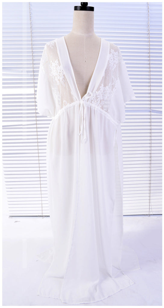 Free Shipping -- Sexy Embroidered Maxi White Cardigan Lace Cover Ups