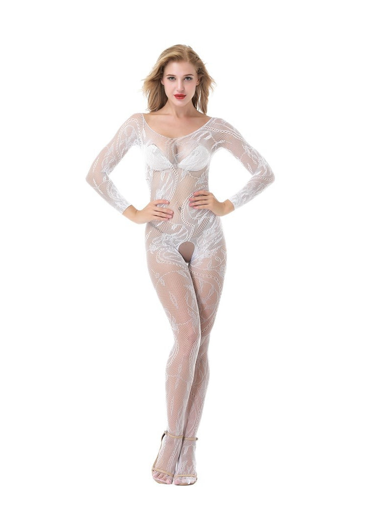 Free Shipping -- White Lace Bridal Lingerie Long Sleeve Crotchless Bodystocking