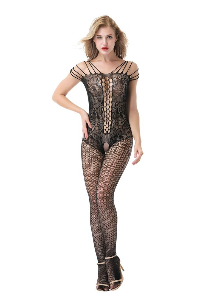 Free Shipping -- Solid Crotchless Lingerie Fishnet Corset Front Bodystocking