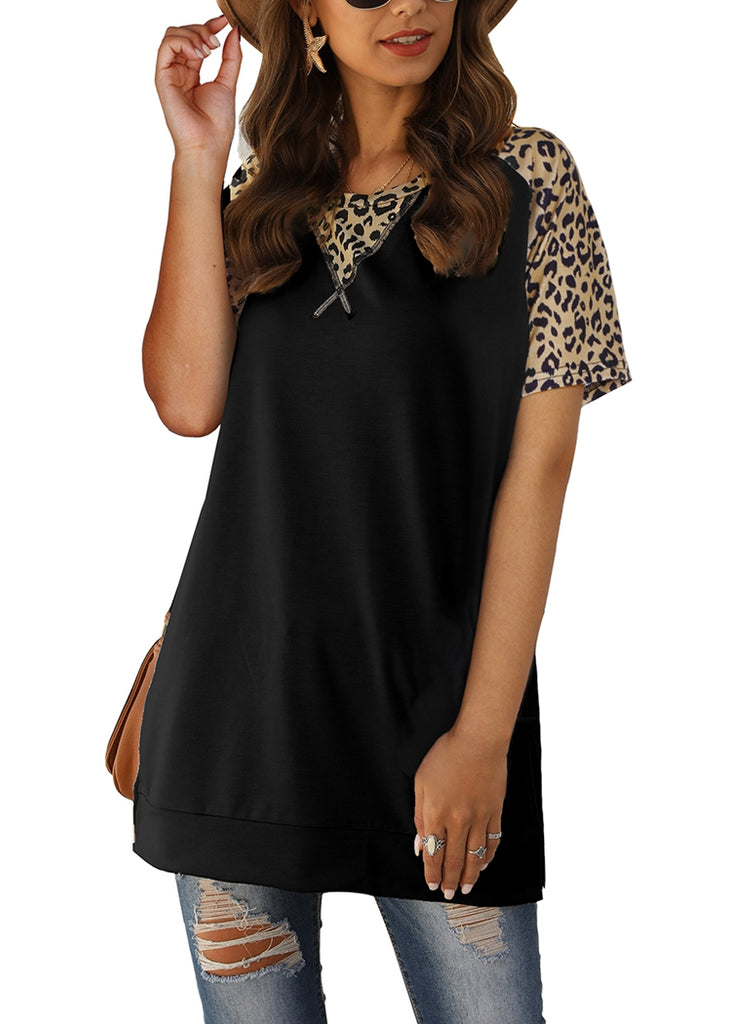 Free Shipping -- Leopard Print Short Sleeve Loose Tops Side Split Casual Shirts