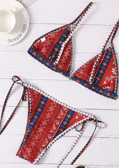 Free Shipping -- Red Vintage Print Twist Knot Side Triangle Bikini