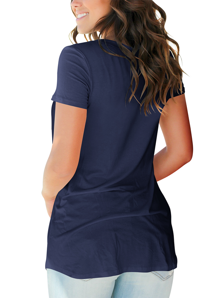 Free Shipping -- Women's Basic V Neck Short Sleeve T Shirts Summer Casual Navy Tops