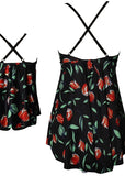 Free Shipping -- Black/Red Flower Print Swimwear Mommy & Me