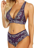 Free Shipping -- Lingerie Underwear Lace Embroidered High Waisted Bra Set