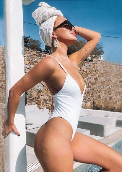 Free Shipping -- White Low Back Solid One Piece Swimsuit