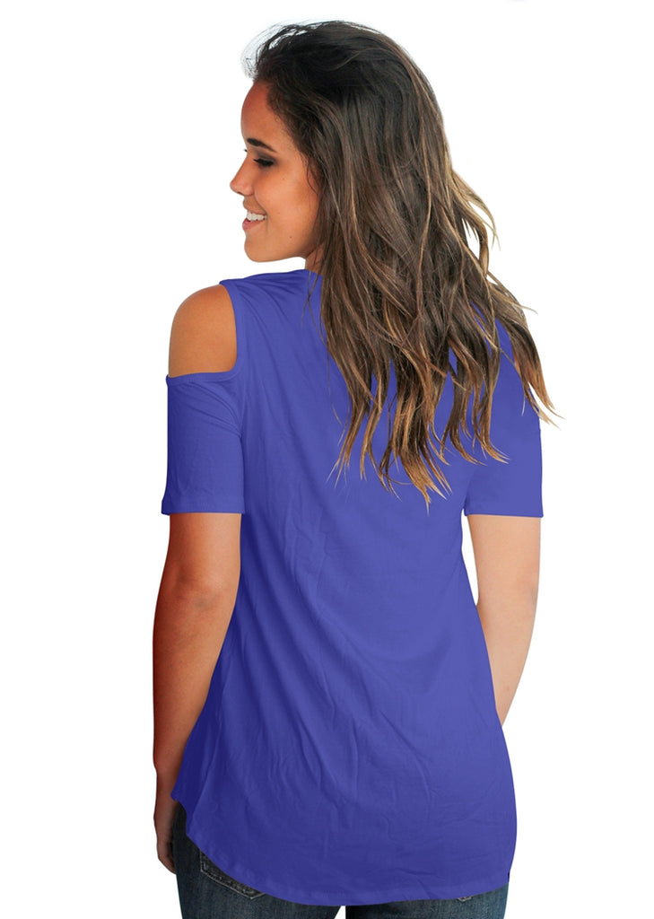 Free Shipping -- Solid Color V-Neck Cold Shoulder Short Sleeve Loose Tops