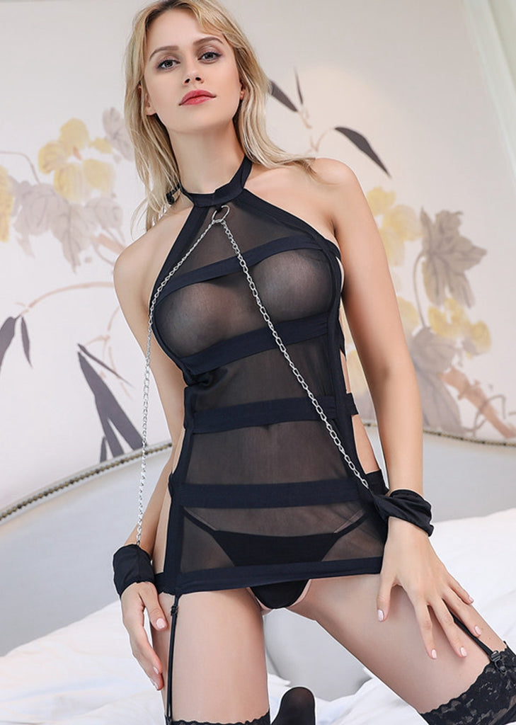 Free Shipping -- Black Lingerie Mesh Halter Teddy Bodysuits with Chains