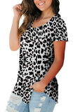 Free Shipping -- Leopard Print Scoop Neck Short Sleeve Casual Tops