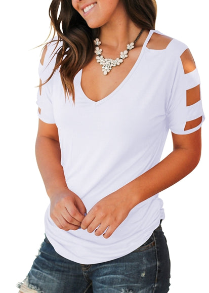 Free Shipping -- Women's White Cold Shoulder T Shirts Hollow Out Casual Tops