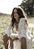 Free Shipping -- White Long Sleeve Single Breasted Maxi Swimsuits Lace Cover Ups