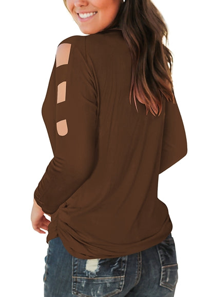 Free Shipping -- Coffee Casual Long Sleeve Cut Out Cold Shoulder Tops Deep V Neck T Shirts
