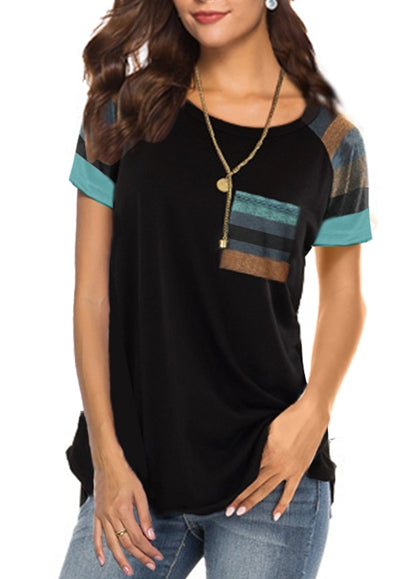 Free Shipping -- Women's Casual Stripes Short Sleeve Round Neck Black Loose Tunic T Shirt With Pocket