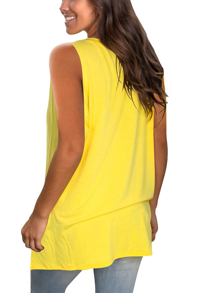 Free Shipping -- Basic V Neck Sleeveless Shirts Side Split Tunic Tank Tops