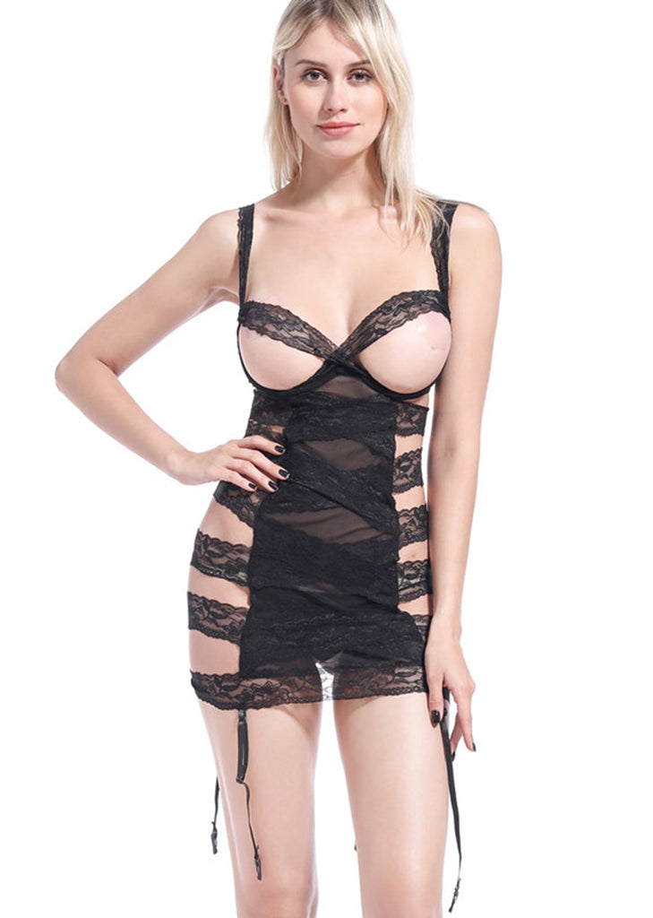 Free Shipping -- Black Mesh Chemise Lingerie Dress For Women